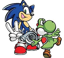 Boosted Sonic and Yoshi Photographic Print