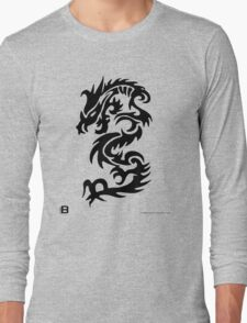 Black Only Chinese Tribal Dragon Long Sleeve T-Shirt