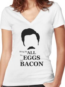 Ron Swanson (Eggs & Bacon) Women's Fitted V-Neck T-Shirt