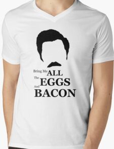 Ron Swanson (Eggs & Bacon) Mens V-Neck T-Shirt