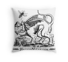 Medieval Monster Chases Wasp Throw Pillow