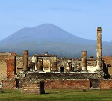 FORUM AT POMPEI with MT. VESUVIUS  by Edward J. Laquale