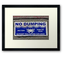No Dumping  -  A World of Words Framed Print