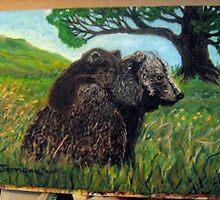 Piggyback ride on Mama Bear's back by Jerriann