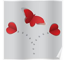 Red paper butterfly 3 Poster