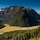 scenic view over routeburn valley by peterwey