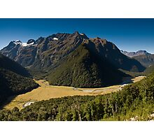 scenic view over routeburn valley Photographic Print