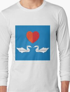 Swans and red heart Long Sleeve T-Shirt