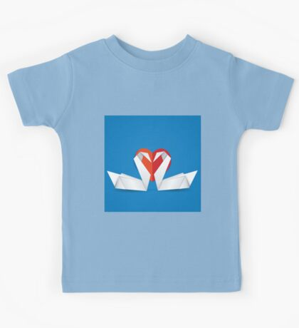 Swans and red heart 2 Kids Tee