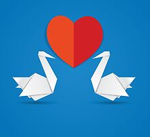 Swans and red heart 3 by AnnArtshock