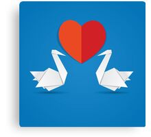 Swans and red heart 3 Canvas Print