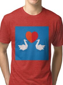Swans and red heart 3 Tri-blend T-Shirt