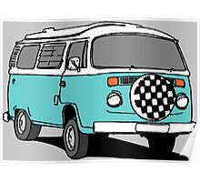 Turquoise VW Bus Poster