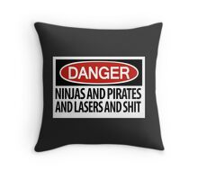 Ninjas and Pirates and Lasers, Oh My! Throw Pillow