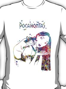 Pocahontas Disney Princess and Meeko Watercolor T-Shirt