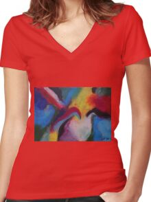 """""""Azzurro"""" original abstract artwork by Laura Tozer Women's Fitted V-Neck T-Shirt"""