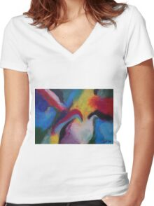 """Azzurro"" original abstract artwork by Laura Tozer Women's Fitted V-Neck T-Shirt"