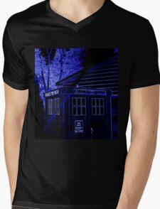 Neon Blue T.A.R.D.I.S. Mens V-Neck T-Shirt