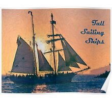 Impasto stylized photo of the Tall Ship Exy Johnson off Dana Point, CA US. Poster
