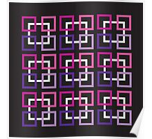 Squares In Purple, Pink And White Poster