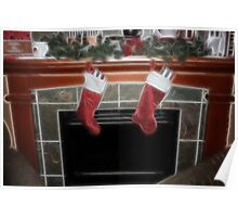 Fireplace at Christmas Poster