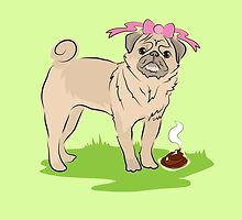 Pink Puggy Pug Dog girl with cute little bow by jazzydevil