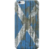 Flag of Scotland on Rough Wood Boards Effect iPhone Case/Skin