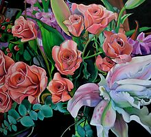 Double Lily with Roses by Lori Elaine Campbell
