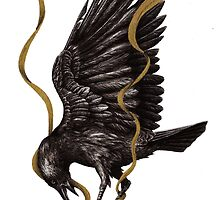 Breaking Point - Crow Falling with Gold Ribbon by DanielleTrudeau