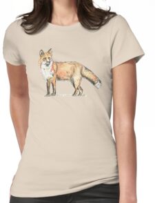 Fox watercolour and ink Womens Fitted T-Shirt