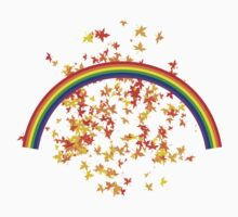 Rainbows and Maple Leaves One Piece - Short Sleeve