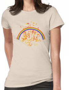 Rainbows and Maple Leaves Womens Fitted T-Shirt