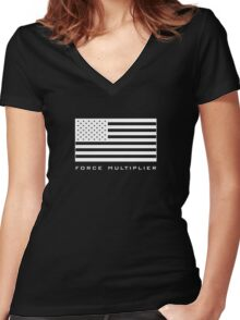 FORCE MULTIPLIER - AMERICAN FLAG (WHITE) Women's Fitted V-Neck T-Shirt