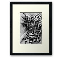 Contained Laughter Inside a Biblical Portrait. Framed Print