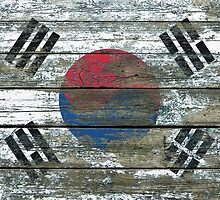 Flag of South Korea on Rough Wood Boards Effect by Jeff Bartels