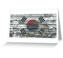 Flag of South Korea on Rough Wood Boards Effect Greeting Card