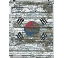 Flag of South Korea on Rough Wood Boards Effect iPad Case/Skin