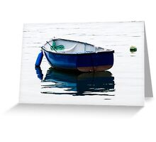 Blue Row Boat Greeting Card