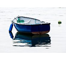 Blue Row Boat Photographic Print