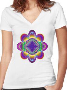 The rainbow flower Women's Fitted V-Neck T-Shirt