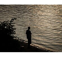 Silhouette Of A Fisherman Photographic Print