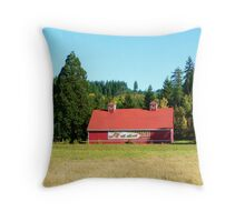 Stage Coach Hills Red Barn  Throw Pillow