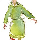 Woman in green coat by HikingArtistCom