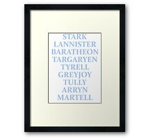 The Houses of Westeros Framed Print
