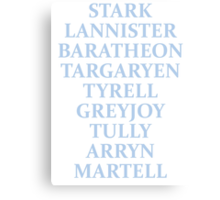 The Houses of Westeros Canvas Print