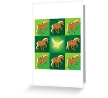 Abstract Epona on a field of green Greeting Card