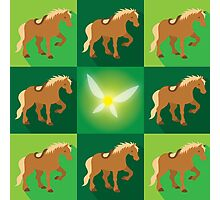 Abstract Epona on a field of green Photographic Print