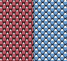 Red Forest and Blue Mountains patterns by jezkemp