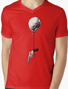 Gun Hanging From Balloon Mens V-Neck T-Shirt