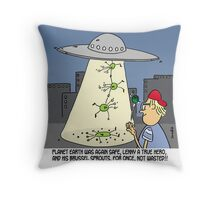 brussel sprouts save the world (throw pillowA) Throw Pillow